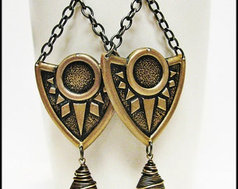 Golden Brass Art Deco and Bronze Swarovski Crystal Earrings