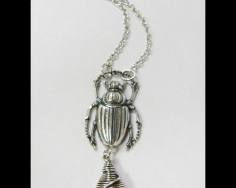 Antique Silver Scarab and Wire Wrapped Silver Night Swarovski Teardrop Necklace