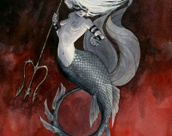 Huntress Mermaid - 8x10 print