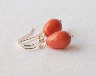 Orange Coral Pearl Drop Earrings Wedding Jewelry Bridesmaid Gift Coral Jewelry, Gifts under 20