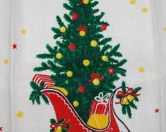 Vintage Christmas Tree and Sleigh Kitchen Towel