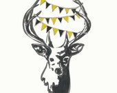 Black and Gold Pittsburgh Pride, stag painting, Deer with banner, black and gold banner, pennant, deer painting
