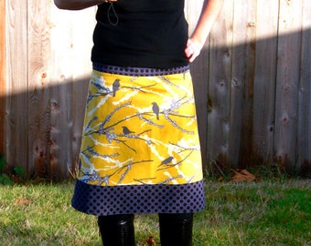 ViNtAgE mUsTaRd yEllOw SkiRt, GrAy, AnD bLaCk SkiRt, Sparrows and Dots, Joel Dewberry, Simple Drop Waist A-line size women's 2-24