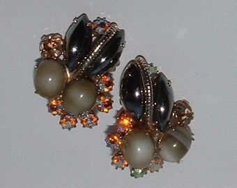 Vintage Rhinestone Earrings, Art Glass and Hematite Glass Gems
