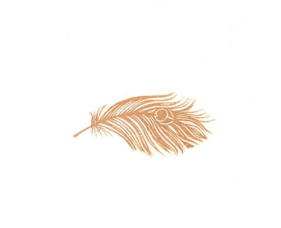 Feather Rubber Stamp, Very Detailed, Hand Carved Rubber Stamp Woodcut Look, Peacock Feather