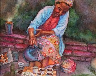 NEW Ethiopian Coffee Ceremony 8x10 African Woman art print
