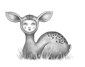 Little Fawn Face - Original Pencil Drawing
