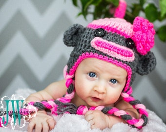 POPULAR Sock Monkey Hat Newborn 0 3m 6m Baby Girl Pink baby clothes Crochet Photo Prop Clothes  Super CUTE Gift Mothers Day Gift