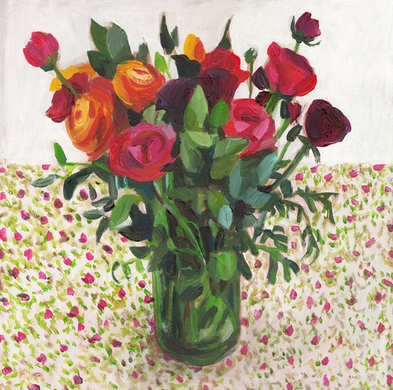 Bouquet Of Flowers In A Vase Original Acrylic Painting On