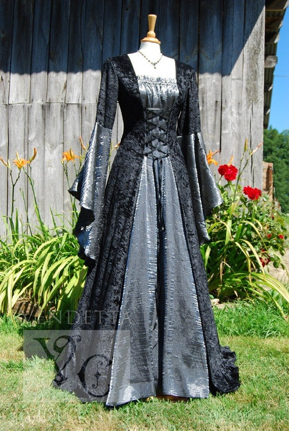 Medieval dress wedding gown handfasting available in sizes s for Denim wedding dresses for sale