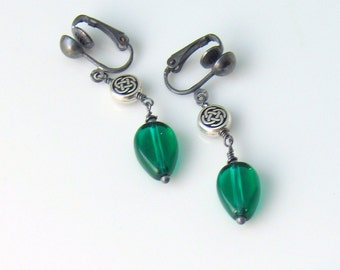 Emerald Green Dangle Earrings, Clip-on or Pierced Drop Earrings, Celtic Knot Drop, St Patrick, Irish Green or May Birthstone, Spring Fashion