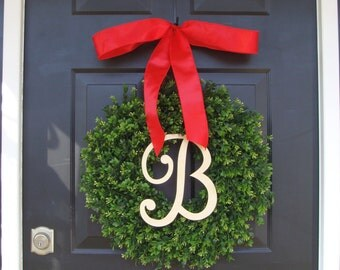 Monogram Boxwood Christmas Wreath, Christmas Decor, Personlized Christmas Gift, Holiday Wreath Monogram Thin Boxwood Wreath Ready to Ship