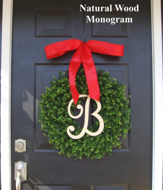 Monogram Boxwood Christmas Wreath, Christmas Decor, Personlized Christmas Gift, Holiday Wreath Monogram Thin Boxwood Wreath 16-24 inch