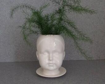 "Flower pot ""Sweet Cheeks"" head pot, white doll head planter # sweetcheek/clear"