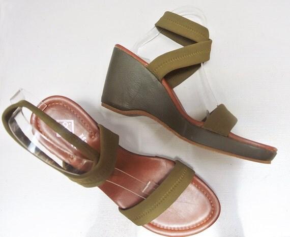 olive wedges donald j pliner heels elastic neoprene ankle