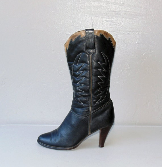 vintage leather boots / black western boots / Eagle stitch cowboy boots size 8
