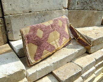 Amethyst Carpet Bag Clutch with Repurposed Work Pants and Amethyst and Gold Upholstery Fabric