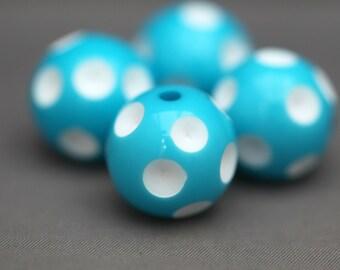 4 Light Blue White Dimpled Polka Dot Acrylic Beads 20mm