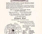 1950s Hotel Advertisement - Biltmore Los Angeles California - Vintage Antique Retro 50s Era Pop Art Ad for Framing 50 Years Old