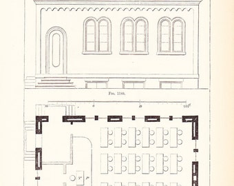 1892 Architecture Prints - 3 School Prints - Vintage Antique Art Illustration Interior Design Great for Framing 100 Years Old