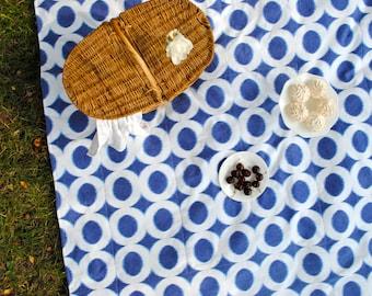 Picnic Blanket in Blue Ikat- Eco Friendly, Indigo Summer, Beach Blanket, Picnics, Geometric, Wedding Gift
