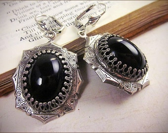Black Gothic Earrings, Victorian Jewelry, Medieval Costume, Wedding, Garb, Tudor, Renaissance, Anne Boleyn, Queen, Royal, MedCol