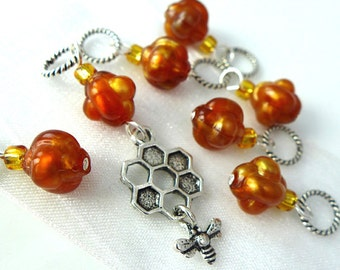 A Moment of Honey - Seven Handmade Stitch Markers - 5.0 mm (8 US) - Open Edition