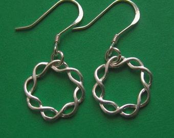 Small Sterling Silver Braided Wreath Earrings