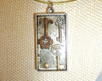 Keys & Gear Watch Face Parts Collage Necklace Frozen in Time Neo Victorian Pendant