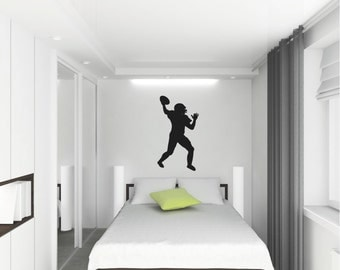 Football Player Wall Decal Customizable vinyl lettering sticker