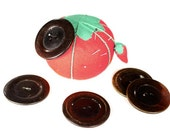 1960s Vintage Coat Button Set of 5 - Cherry Brown Wood Look - Large