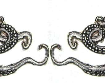 Small  Pair Octopus Iron on Patch in Silver