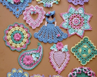 PDF Crochet Pattern- Dainty Little Doilies  (13 different designs)