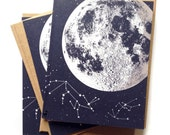 Moon card, moon cards, Single A2 size Moon Stars Greeting Cards, blank inside, original lunar constellation animal design, recycled paper