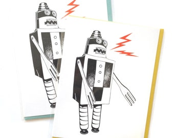 Single A2 size Build a Bot Greeting Cards, blank inside, rad original robot design, recycled paper, made in Portland Oreogn