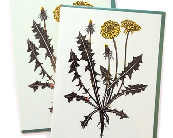 Single A2 size Dandelion Flower Cards, blank inside, pretty original botantical plant design, recycled paper, made in Portland Oreogn