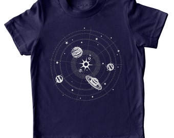 Solar system t-shirt, Kids Space Shirt, Childrens Clothing, Boys Girls Science shirt, Glow in the Dark Planets Shirt, kids stars planets tee