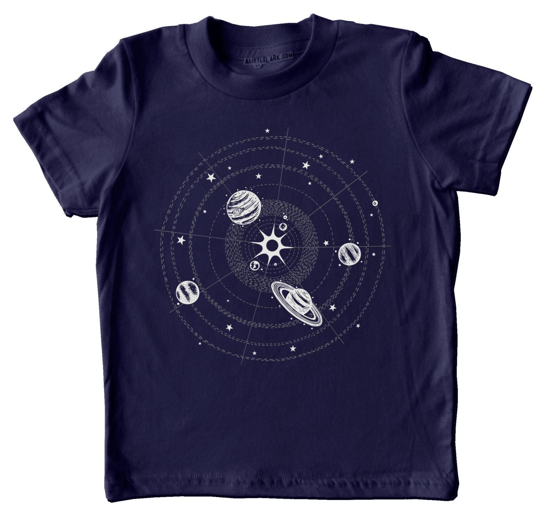 Solar system t shirt kids space shirt childrens clothing for Dark denim toddler shirt