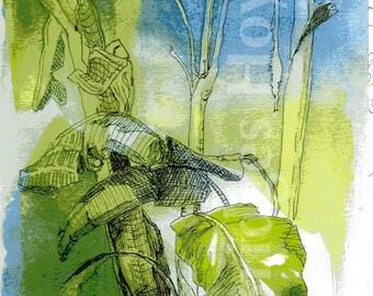 Banana Tree Garden, Texas landscapes, tropical decor watercolor, Giclee reproduction, green and blue