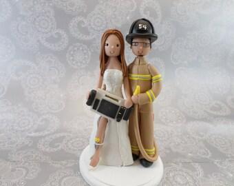 Firefighter & EKG Paramedic Customized Wedding Cake Topper