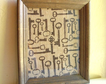 Rustic Farmhouse Style Burlap Fabric Wood Framed Picture Black Skeleton Keys 8x10
