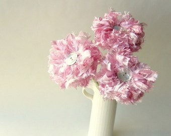 Ribbon Flower Bouquet 3 Pink Fizz Flowers, wedding decor, centerpiece