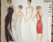 McCalls 7672 Misses Cocktail Dress Evening Gown Wedding Gown Vintage Pattern Size C 10, 12, 14 Uncut OOP RARE