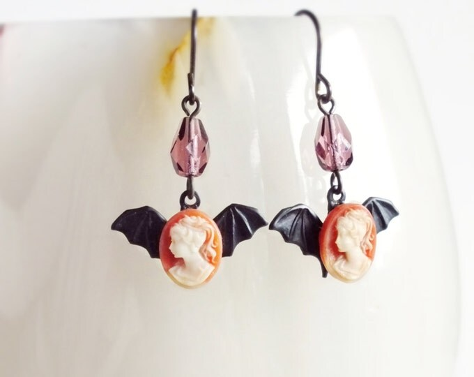 Small Bat Earrings Tiny Vintage Cameo Earrings Black Bat Jewelry Victorian Creepy Goth Jewelry Cameo Dangle Earrings