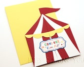 Signature Sunshine Circus Tent Birthday Invitations for Boys Circus or Carnival Party