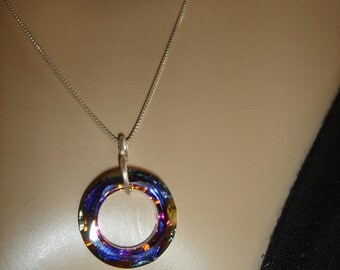 Swarovski crystal necklace-Circle of Life Round Cosmic ring Volcano on Silver chain-iridescent multicolor