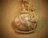 Natural Blue, Tan, and Rust Sea Sediment JASPER Gemstone Gold Wire Wrap Necklace Pendant
