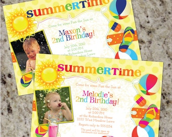 Summertime - Birthday Party Invitations for Boys or Girls - Summer theme - Printable Design