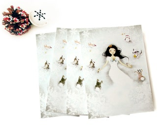 Set of 4 Greeting Cards + 4 White Envelopes - Winter Wonderland