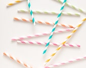 20 Paper Straws - Choose Your Color - With Printable PDF Party Flag
